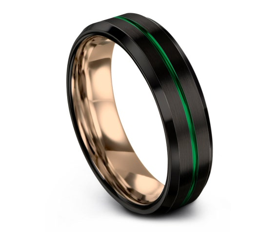 Men's Tungsten Wedding Band, Rose Gold Wedding Band, Black Green Tungsten Carbide Ring 6mm, His and Hers, Gifts for Him, Size 7 Ring
