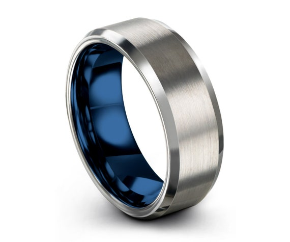 Blue Brushed Silver Tungsten Ring, Wedding Band, Tungsten Carbide 8mm, Wedding, Women, Mens, Engagement, Gift, Custom, Promise Ring