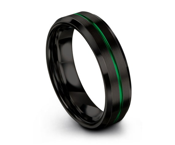 Tungsten Ring Mens Black Green Wedding Band Tungsten Ring Tungsten Carbide 6mm Tungsten  Man Wedding Band Male Women Anniversary Matching