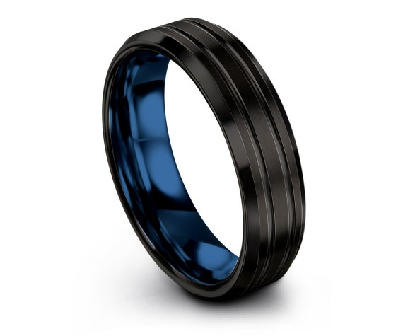 Awesome Blue Tungsten Wedding Band Beveled,Customized Ring,Mens Ring Black,Double Line Engraving,Comfort Fit Band Size 7,Commitment Ring