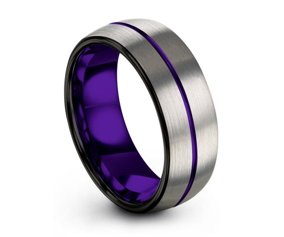 Mens Wedding Band Purple, Tungsten Ring Silver, Mens Ring, Promise Ring, Engagement Ring, Rings for Men, Rings for Women, Wedding Rings