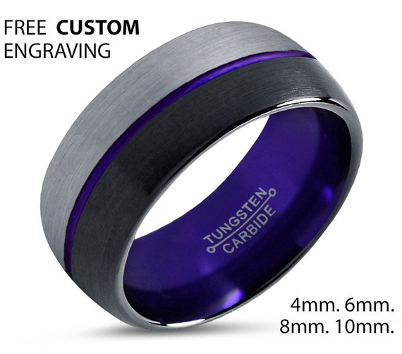 50% off Purple Personalized Tungsten Ring | Wedding Band | Mens & Womens