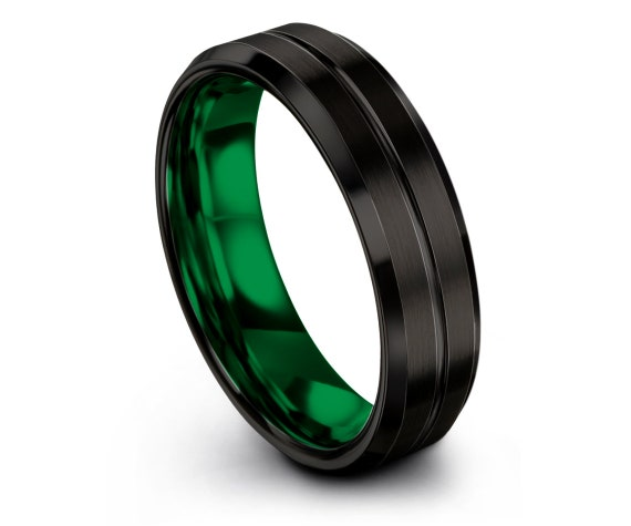 Beveled Tungsten Wedding Band Black - Tungsten Carbide Ring - Green Wedding Band - Engraved Ring - Valentines Gift For Her - Engagement Ring