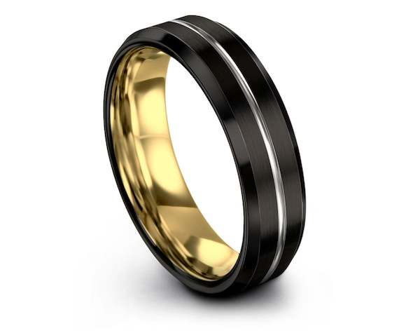 Mens Tungsten Wedding Band Black | Gold Wedding Band | Tungsten Ring 6mm | Custom Engraving Silver Ring | Promise Ring | Gift for Him