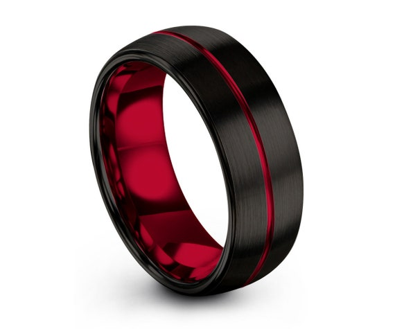 Mens Wedding Band Red, Black Wedding Ring, Tungsten Ring 8mm, Personalized, Engagement Ring, Promise Ring, Rings for Men, Rings for Women