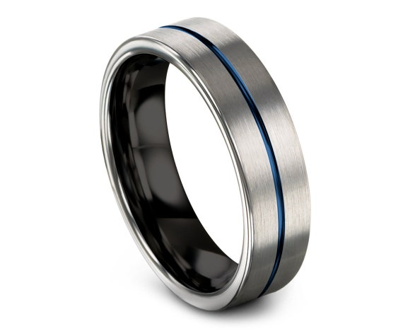Brushed Silver Tungsten Ring, Flat Cut Comfort Fit Black Tungsten Band, His and Hers Wedding Bands Blue, Engrave Ring, Gift For Daddy