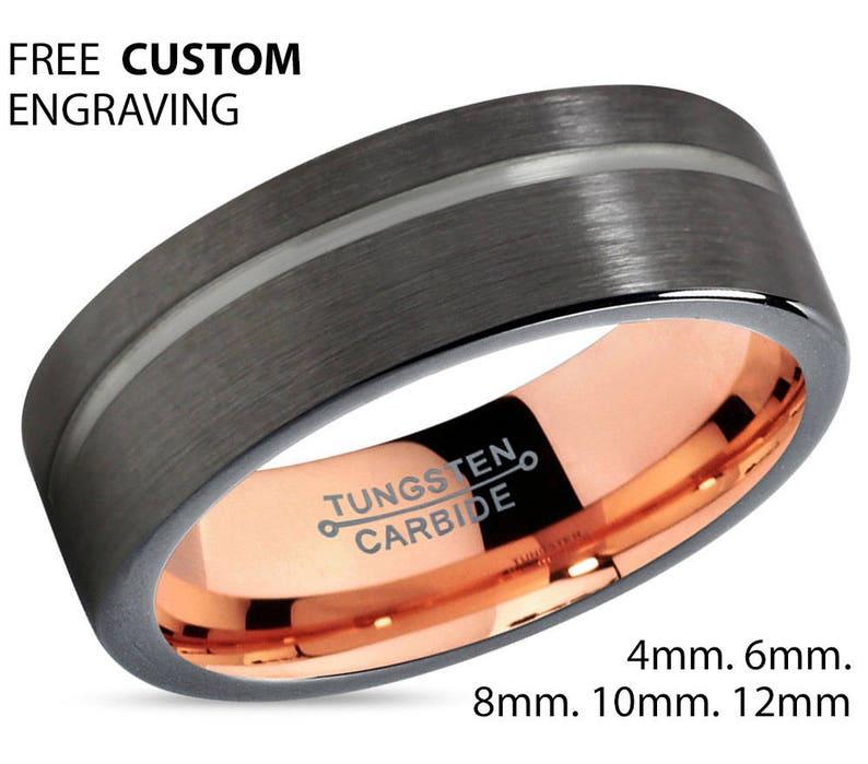 GUNMETAL Black Tungsten Ring Rose Gold Wedding Band Ring Tungsten Carbide 4mm 6mm 8mm 10mm 12mm 18K Tungsten Man Wedding Band Male Women