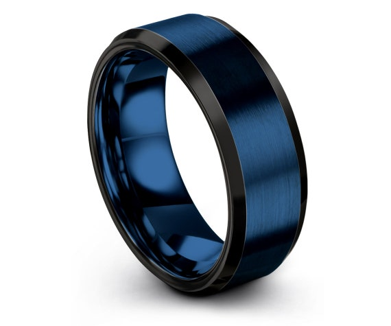 6MM 8MM, Wedding Engagement Band Black, Blue Brushed Polished Ring, Blue Tungsten Ring, Unique Men Ring, Rings For Women, Personalized Gifts