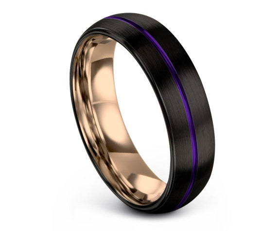 Domed Tungsten Wedding Band, Center Engraving Band, Hammered Ring, Men Purple Ring, Matching Ring, Personalized Gift, Gifts For Men