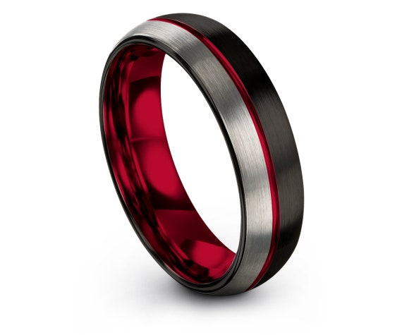 Silver Brushed With Center Thin Line Engraving Red, Comfort Fit Wedding Ring, Black Tungsten Ring, Tungsten Band, His and Hers Ring Set