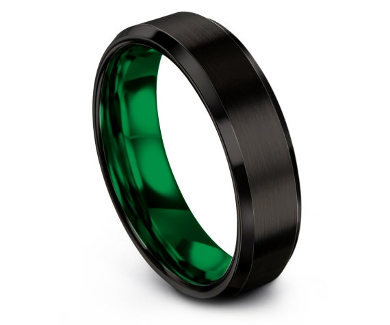 Brushed Tungsten Wedding Band Black,Beveled Tungsten Ring,Green Tungsten Rings,Promise Ring,Gift for Him,Free Shipping,4mm,6mm,8mm,10mm