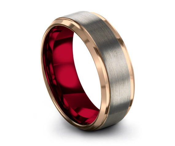 Mens Wedding Band Silver, Tungsten Ring Rose Gold 18K, Wedding Ring Red 8mm, Engagement Ring, Promise Ring, Rings for Men, Gold Ring