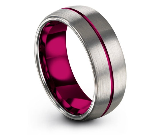 Womens Rings | Silver Wedding Bands | Tungsten Carbide Ring 6MM | Center Line Engraving Pink | Gifts For Her | Couple Matching Ring | 8mm