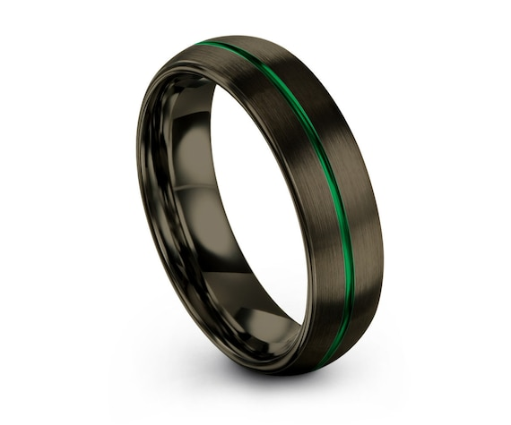 GUNMETAL GREEN Tungsten Ring, Black Wedding Band 6mm, Wedding Ring, Engagement Ring, Promise Ring, Gifts for Him, Gifts for Her, Black Ring
