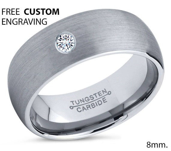 Mens Wedding Band Silver, Tungsten Ring 8mm, Wedding Ring, White Diamond Ring, Engagement Ring, Promise Ring, Silver Ring, Gifts for Him