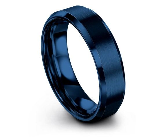 Blue Wedding Band Tungsten Beveled, Gifts For Him, Gifts For Her, Wedding Ring Set, His and Hers Rings, Blue Tungsten Ring, Gift For Husband