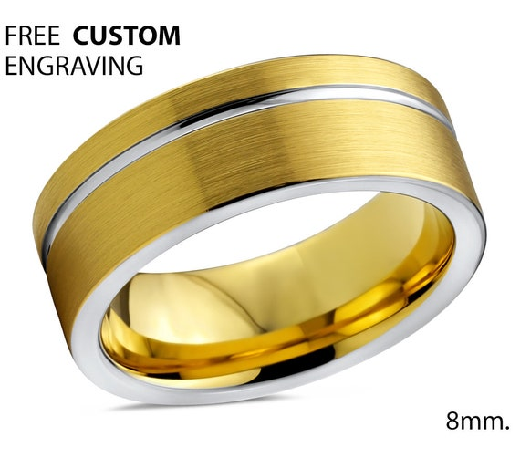Mens Wedding Band, Tungsten Ring Yellow Gold 18K, Wedding Ring 8mm, Promise Ring, Rings for Men, Engagement Ring, Gold Ring, Mens Ring