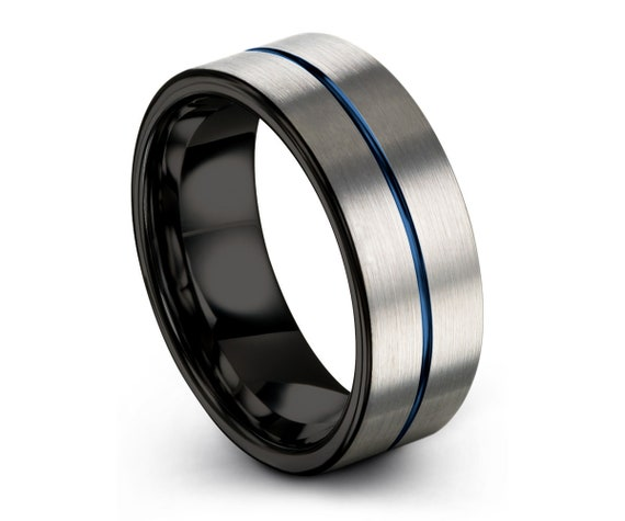 Tungsten Ring Mens Black Blue Wedding Band Tungsten Ring Tungsten Carbide 8mm Tungsten  Man Wedding Band Male Women Anniversary Matching