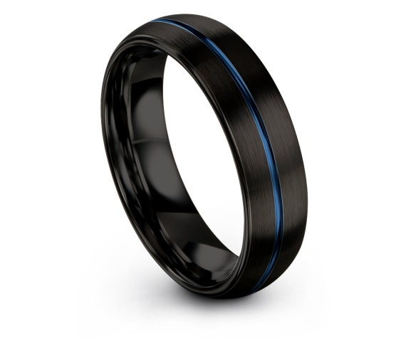 Personalized Jewelry, Domed Wedding Ring For Men, Blue Tungsten Ring, Mens Black Ring, Thin Blue Line, Custom Ring, Engagement Gift