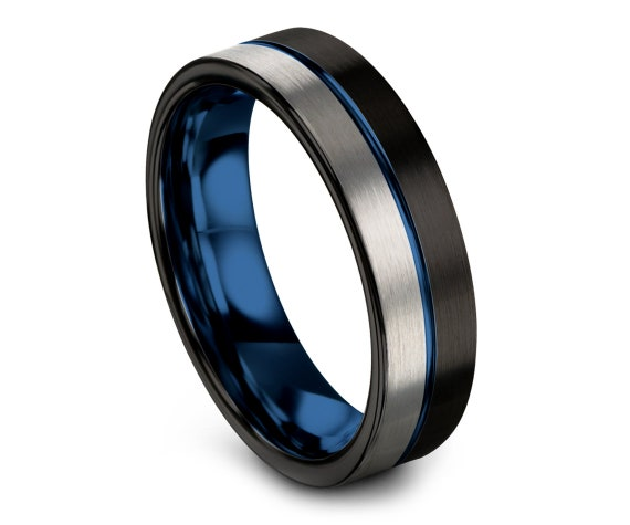 Mens Wedding Band Black Blue, Tungsten Carbide 6mm Rings, Silver Tungsten Ring, Center Engraving, His or Her Ring, Engagement Present