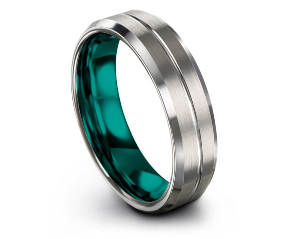 Mens Wedding Rings Silver Grey,Engraved Wedding Gifts,Beveled Tungsten Ring Women Engagement,Teal Tungsten Carbide Ring,Gift For Mom,Gifts