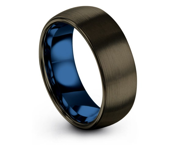 GUNMETAL Tungsten Ring 8mm, Blue Tungsten Wedding Band, Tungsten Carbide Ring Men, His and Hers Rings, Minimal Ring, All Size Available