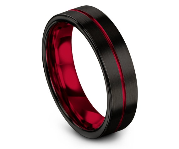 Mens Gift, Wedding Band Black, Wedding Band Tungsten, Tungsten Carbide Wedding Band 6mm, Red Line Engraving Ring, His and Her, Fast Shipping