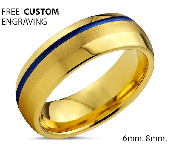 18k Yellow Gold Unisex Wedding Ring with Blue Offset Line - Tungsten Wedding Ring - For Any Occasion- Free Custom Engraving