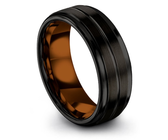 8mm Tungsten Band Copper | Wedding Gifts | Mens Wedding  Ring | Copper Tungsten Carbide Ring | Promise Ring Sets | His and Her | All Size