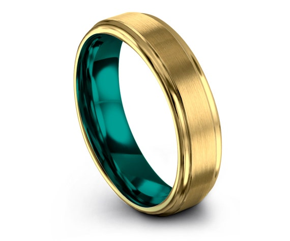 Comfort Fit Wedding Band Teal, 18K Gold Tungsten Ring, Tungsten Carbide 6mm, Gift For Her, Matching Rings, Anniversary Gifts, Wedding Gifts
