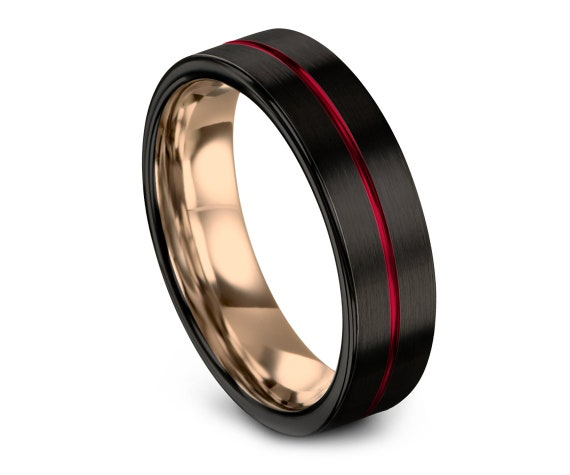 Black Tungsten Wedding Band, His and Hers Rings, Tungsten Carbide Wedding Band, 18k Rose Gold, Red Engraving, Gifts For Her, Custom