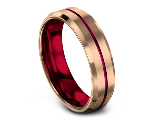 6mm 8mm Tungsten Wedding Band Red,Polish Edge Brushed Rose Gold Wedding Ring,Mens Red Wedding Band,18K Rose Gold,Promise Ring,Free Shipping
