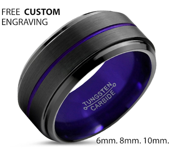 Brushed Black Step Edge Unisex Wedding Band | Tungsten Carbide Wedding Ring in Purple | Available in 6, 8, 10mm Widths | Fast Free Shipping