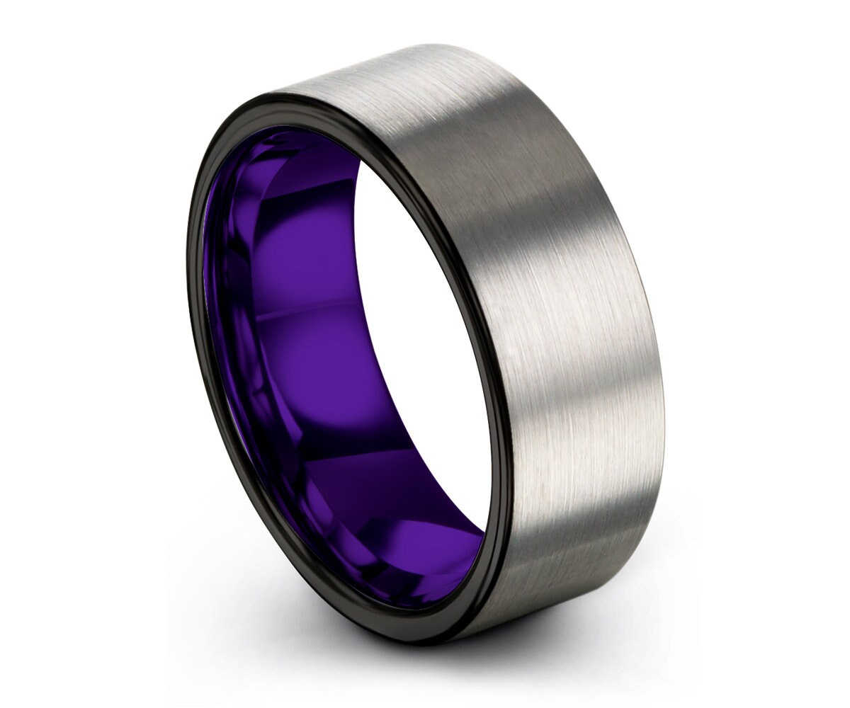 Mens Wedding Band Purple Black Wedding Ring Rings for Women Tungsten Ring 8mm Promise Ring Rings for Men Personalized Engagement Ring