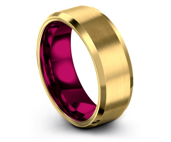 Wedding Band Tungsten Ring, Yellow Gold Tungsten Ring, Tungsten Carbide Ring Pink, Tungsten Ring 8mm, Engagement Ring Women, Gift For Him