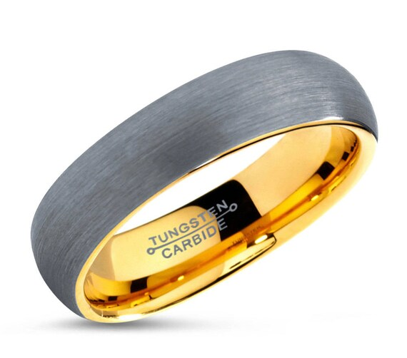 Tungsten Ring Yellow Gold 5mm 18K, Mens Wedding Band, Rings for Women, Wedding Ring, Engagement Ring, Promise Ring, Rings for Men