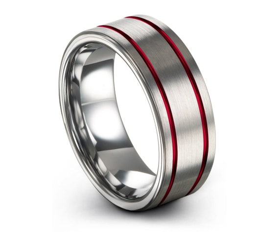 Mens Wedding Band Silver, Tungsten Ring Red 8mm, Wedding Ring, Engagement Ring, Promise Ring, Rings for Men, Rings for Women, Silver Ring
