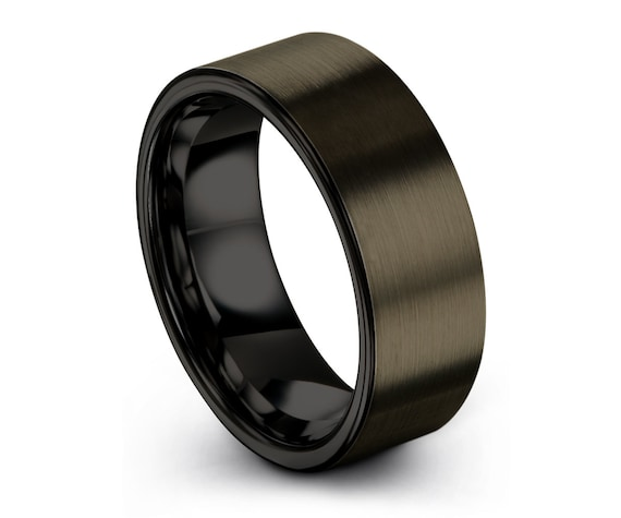 GUNMETAL Tungsten Ring, Mens Wedding Band Black 8mm, Wedding Ring, Engagement Ring, Promise Ring, Rings for Men, Black Ring, Mens Ring