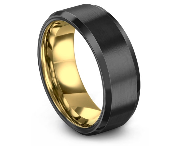 GUNMETAL Tungsten Ring,Yellow Gold Wedding Band,Tungsten Carbide 8mm,Handmade Tungsten Band,Promise Ring,Engagement Ring,Anniversary Ring