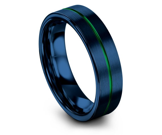 Perfect Wedding Band Blue, Personalized Promise Ring, Rings for Women, Flat Cut Tungsten Carbide Wedding Ring,Thin Line Green,Engraved Ring