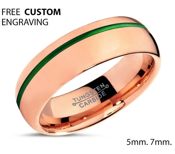 50% OFF - 18K Rose Gold Mens Wedding Band With Green Offset Line - Personalized Tungsten Ring for Men & Women - Hypoallergenic - Gift Idea