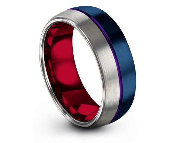Purple Center Engraved Ring,Domed Tungsten Wedding Band,His and Hers,Silver and Blue,Red Wedding Band,Anniversary Ring,Gifts For Him,8mm