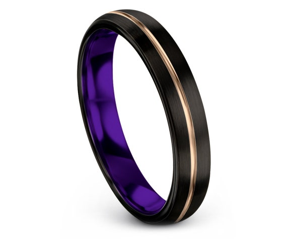Domed Tungsten Wedding Band, Mens Purple Ring, Engraved Jewelry, Tungsten Carbide Band, Matching Ring, Promise Ring For Him, Gifts For Her