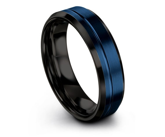 6mm 8mm 10mm Beveled Black Tungsten Wedding Band | Mens Rings | Blue Tungsten Ring | Mens Wedding Band | Tungsten Wedding Ring | Unique Gift