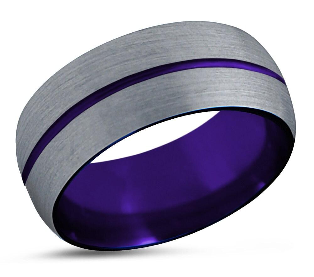 Mens Wedding Band Purple Tungsten Ring Silver Mens Ring