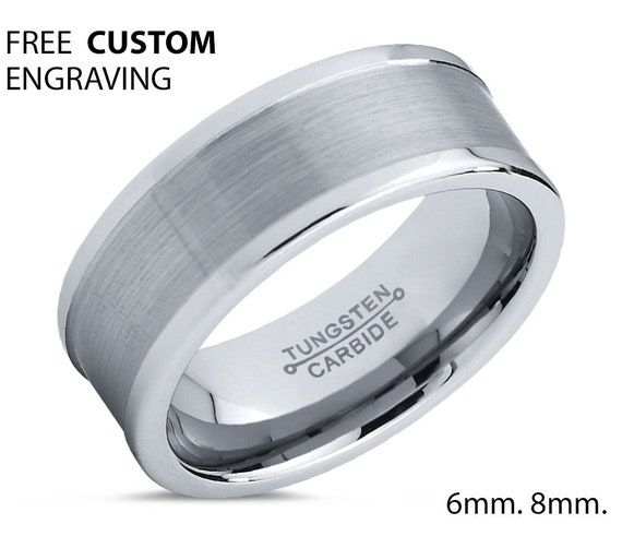 Mens Wedding Band Silver, Wedding Ring, Tungsten Ring 8mm, Engagement Ring, Promise Ring, Rings for Men, Rings for Women, Silver Ring,