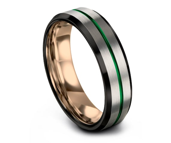 Silver Tungsten Ring, Black Tungsten Wedding Ring Men, Green Ring, 18K Rose Gold Wedding Band, Center Engraving, Promise Ring, Gift for Him