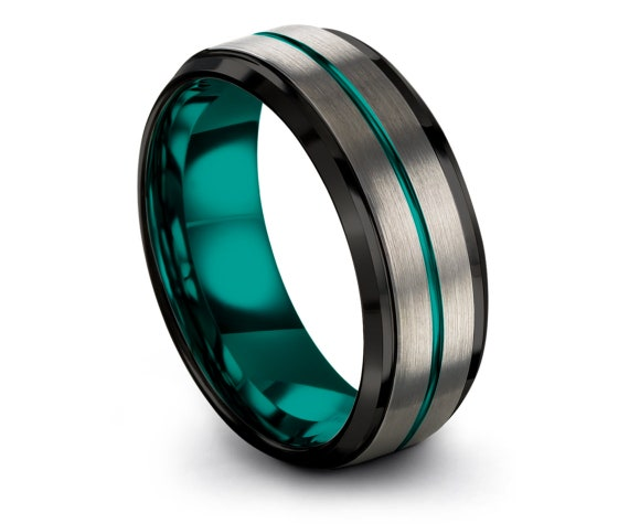 Teal Tungsten Ring Set With Center Engraving | Beveled Black Edge | Brushed Silver | Wedding Band | Tungsten Carbide 8mm Rings | Comfort Fit