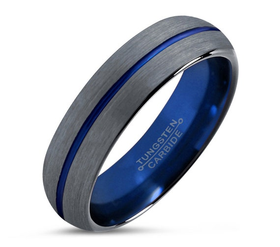 Mens Wedding Band Thin Blue Line, Tungsten Ring Brushed Gray 6mm, Wedding Ring, Engagement Ring, Promise Ring, Rings for Men, Rings Women