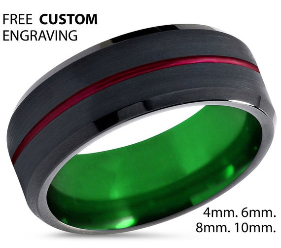 Black Tungsten Ring, Green Wedding Band 8mm, Red Wedding Ring, Engagement Ring, Promise Ring, Gifts for Him, Black Ring, Mens Ring
